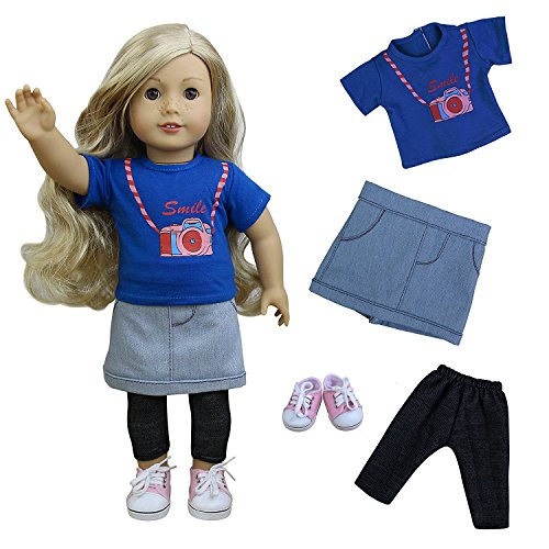Zita Element Puppenkleider Daily Casual Kleidung/Outfits – t-shrit + Kuh Skrit + Hose für American Girl Puppe, und andere 45-46cm Puppen Weihnachts Geschenk 15-puppe Kleidung Für Die American Girl