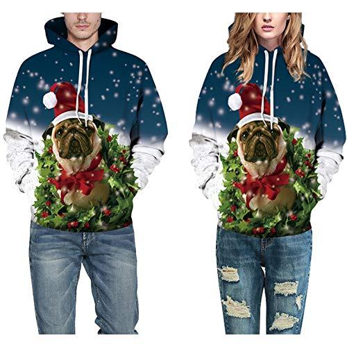 EDtara WeihnachtsgeschenkWeihnachten Haustier Hund Katze Kostüme,Unisex Mode 3D Weihnachten Hund Digitaldruck Hoodie Pullover Beiläufige Lose Pullover Paar Tops Photo Color (Top Paar Kostüm)