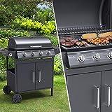 BillyOh Huntsville Barbecue à gaz 4 brûleurs + brûleur latéral avec Housse et régulateur Noir