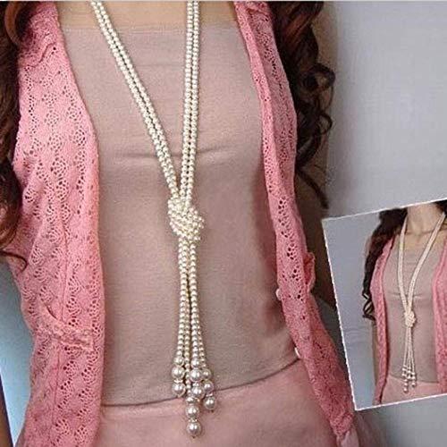 TINGSU Perlenkette mit Knoten, lang, Schmuck für Mädchen und ()