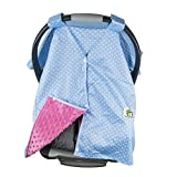Soft, Minky Infant Car Seat Cover - for Boy and Girl - Use in Cold/Hot Weather - Best Car Seat and Nursing Cover