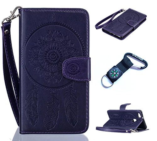 Preisvergleich Produktbild für Huawei P9 Lite Hülle Blume Premium PU Leder Schutzhülle für Huawei P9 Lite Bookstyle Tasche Schale PU Case mit Standfunktion+Outdoor Kompass Schlüsselanhänge) #N (1)
