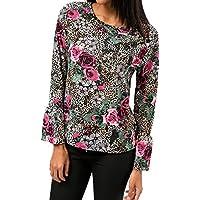 Damen T Shirt,Geili Frauen Mode Blumendrucken Langarm O-Ausschnitt T Shirt Tops Damen Aufflackern Hülse Chiffon... preisvergleich bei billige-tabletten.eu