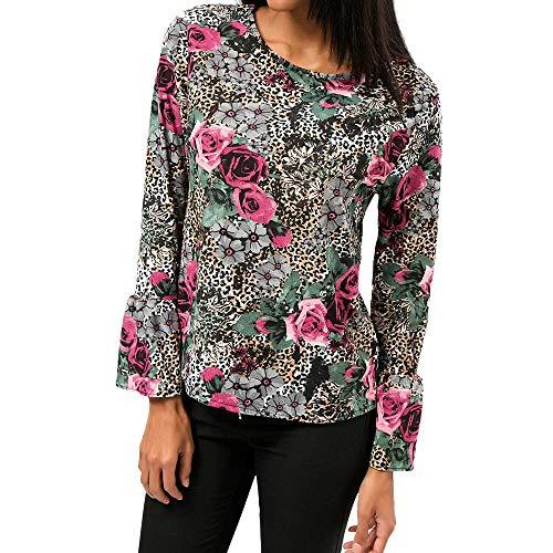 Dasongff Damen Chiffon Blusen O-Ausschnitt Langarmshirt Blumen Bluse Horn Hülse Hemd Frauen Herbst Oberteil Gedruckt Sweatshirt