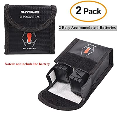 2Pcs Lipo Battery Safe Bag for DJI Mavic Pro Battery Safety Guard Protector Storage and Travel Bag Fire Resistant Explosionproof with Compartment