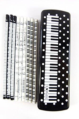 Packung mit 15 Musik-themenorientierte Bleistifte (3 Design) in weiße Flecken Klavier-Tasten Schwarz PVC Kunststoff-Bleistift-Kasten-Satz - Pvc-taste