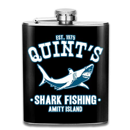 Quints Shark Fishing Jaws Tragbare Flachmannflasche - 7 Unzen Edelstahlflasche mit Schnaps- und Trichterflasche zum diskreten Trinken von Alkohol, Whisky, Rum und Wodka | Geschenk für Männer