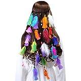 AWAYTR Damen Hippie Boho Indianer Stirnband Feder Stirnbänder für Abendkleider Halloween Karneval (Mehrfarbig-1)