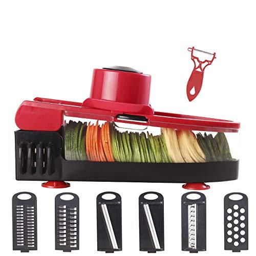 Mrsliu taglia verdure - 6 lama intercambiabile con pelapatate per tagliare il formaggio di cipolle di patate - multifunzionale fruit veggie kitchen chopper