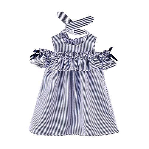 Ostern Kleid Set (MOIKA Baby Mädchen Kleider, (2-7 Jahre) 2 STÜCKE Kleinkind Kinder Baby Mädchen Outfit Kleidung Liebsten Streifen Kleid + Stirnband Set)