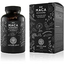 Bio Maca Kapseln - 3000mg schwarzes Bio Maca je Tagesdosis. 180 Kapseln. Mit natürlichem Vitamin C. Ohne Zusätze wie Magnesiumstearat. Zertifiziert Bio, hochdosiert, vegan, hergestellt in Deutschland
