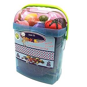 Tachan - Set alimentos de cortar 55 piezas en cubo transportable, azul (Tachan 7288409)