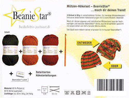 Häkelset 3x 50 Gramm Mützenwolle Mütze Beanie Boshi selber häkeln ziegel+ocker+tanne incl. Häkelnadel + Anleitung + Label -