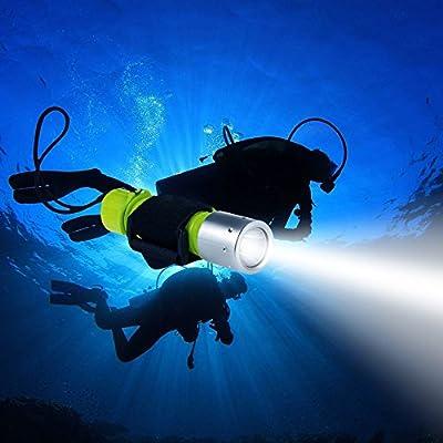 Linterna de submarinismo, turnraise XM-L2 luz LED Submarino Buceo Linterna, Lámpara 1100 lúmenes brillante, de luces impermeable de seguridad para exteriores en deportes de agua, color amarillo