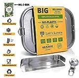 Let´s Lunch Premium Lunchbox auslaufsicher 1400ml mit Klippverschluss inkl. Trennwand/Besteck