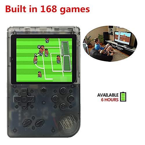 YLM Handheld Spielkonsole, Retro TV FC Spielkonsole, Entertainment System Videospielkonsole mit 3 Zoll 168 Klassische Spiele, spielkonsolen für Kinder (Transparentes Schwarz)