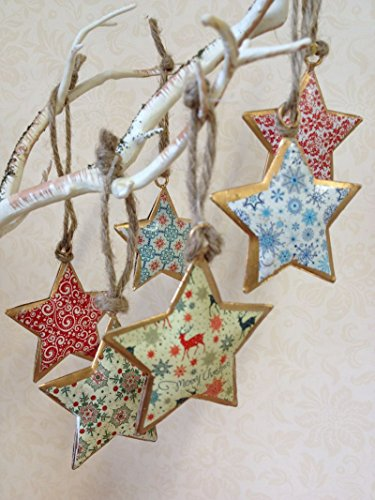 Addobbi Natalizi Vintage.Insieme Di 6 Vintage Hanging Decorazioni Dell Albero Di Natale