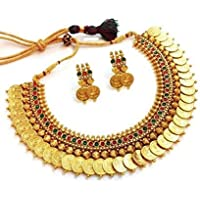 YouBella Traditional Red and Green Temple Coin Ginni Necklace Set/Jewellery Set with Earrings for Women