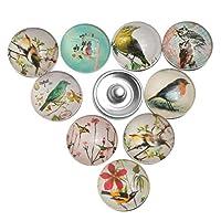Souarts Mixte Bouton à Pression pour Bracelet Oiseau Rond Multicolore Lot de 12pcs