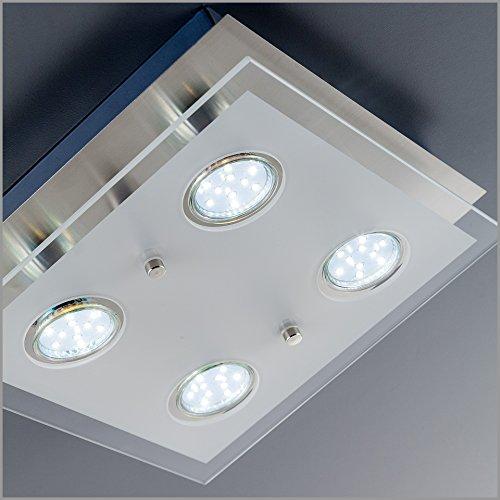 led deckenleuchte deckenlampe wohnzimmer gu10 4 flammig a 3 watt 4 x 250 lumen schlafzimmer. Black Bedroom Furniture Sets. Home Design Ideas