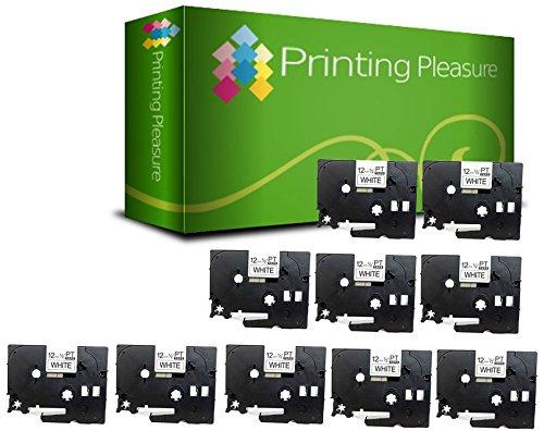 Printing Pleasure 10x Compatibile TZe231 Nero su Bianco (12mm x 8m) Cassetta Nastro Laminato per Brother P-Touch Etichettatrici