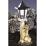 Bits and Pieces Luce solare Yorkie Yorkshire terrier–Lanterna a energia solare da giardino–Scultura cane in resina con luce LED