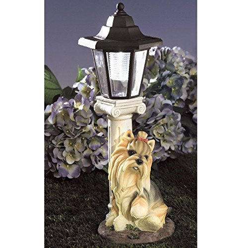 Bits and Pieces Solarleuchte Yorkie Yorkshire Terrier, solarbetrieben, Garten Laterne–Kunstharz Hund Skulptur mit LED-Licht