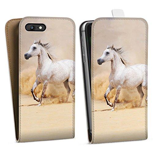Apple iPhone 5c Tasche Hülle Flip Case Pferd Wüste Horse Downflip Tasche weiß