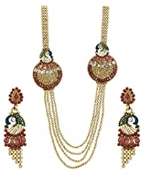 Zeneme Beguiling 5 Strings Gold Plated Peacock Antique Necklace Set For Women