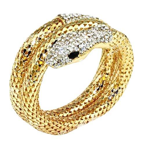 (DAY.LIN Armband Damen Armbänder Punk Strass gebogen Stretch Schlange Manschette Armreif (Gold))