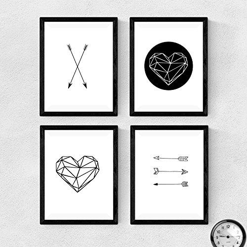 Set de 4 láminas para enmarcar, 4 Formas geométricas laminas estilo nordico. Decoración de hogar. Papel 250 gramos alta calidad. Decora el salón, o haz el regalo perfecto. Poster Estilo escandinavo, producto de diseño. (A4)
