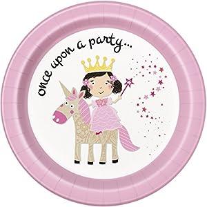 Unique Party- Platos de Papel Fiesta de Princesa y Unicornio, 8 Unidades (54825)