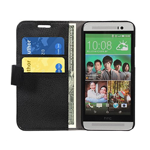 Swan Leather wallet book style Case cover stand with card slot for HTC ONE E8 (Black)