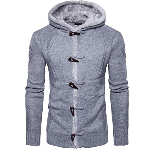 YunYoud Herren Kapuzenpullover Männer Herbst Winter Mantel Einfarbig Mit Kapuze Strickjacke Beiläufig Stricken Sweater Mode Hörner Taste Kapuzenpulli (L, Grau) (Double Band Breasted)