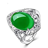 Zhiming Natürliche Ordnung s925 Sterling Silber Handgefertigte Mikro eingelegte grüne Chalzedon Achat Ring