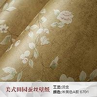 Carta da parati in tessuto non tessuto, American Retro camera da letto soggiorno sfondo studio rurale Fiori Carta da parati nuova cinese Section 6701