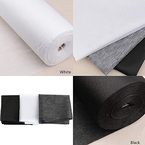 Accessories Attic Tissu à entoilage thermocollant 2 m - 100 cm de large - Ultraléger, moyen ou lourd - Blanc ou noir, WHITE - LIGHT, 2 Metres