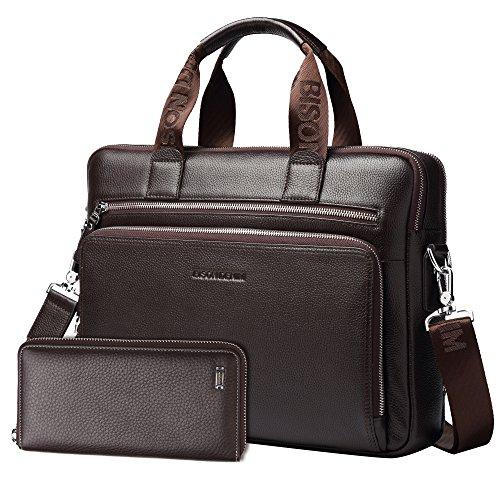 BISON DENIM Herren klassische echtes Leder Aktenkoffer Laptop Schulter Messenger Bag Business Tote (Coffee[2PCS]) (Große Tote Aktentasche)