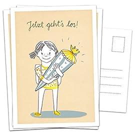 10er-SET-Postkarten-Einladungskarte-zur-Einschulung-Mdchen-Einladung-Einschulungskarte-Schulkind-Schultte-blau-gelb-Retro-Zuckertte