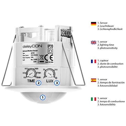 deleyCON Infrarot Decken-Bewegungsmelder – für Innenbereich – 360° Arbeitsfeld – Reichweite bis 6m – einstellbare Umgebungshelligkeit – IP20 Schutzklasse – optimal für Unterputz Deckenmontage – Weiß - 3