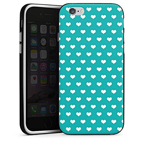 Apple iPhone X Silikon Hülle Case Schutzhülle Herzchen Türkis Muster Silikon Case schwarz / weiß