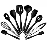 LiliChan Silicone Kitchen Cooking Utensils Set - 10 Pieces BPA Free Heat Resistant Non Scratch Non Stick Dishwasher Safe Kitchen Baking Cooking Tools Set (Black)