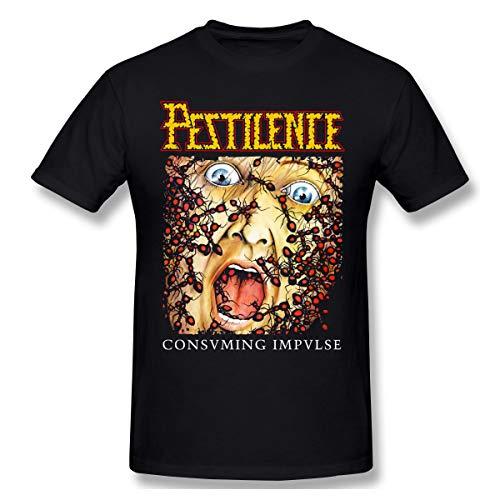 QmatSet Pestilence 'Consuming Impulse Album Cover Herren Klassisch T Shirt Black L -