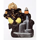 Lord Ganesha Smoke Fountain (Yellow) LORD GANESHA SMOKE FOUNTAIN / LORD GANESHA Incense Burner / LORD GANESHA Smoke Back Flow / LORD GANESHA IDOL GIFT ITEM / LORD GANESHA STATUE GIFT ITEM WITH FREE 10 SMOKE Back Flow SCENTED CONE INCENSES