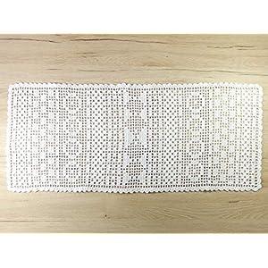 Weißer Tischläufer Häkelläufer Häkeldeckchen Deckchen Läufer Deko