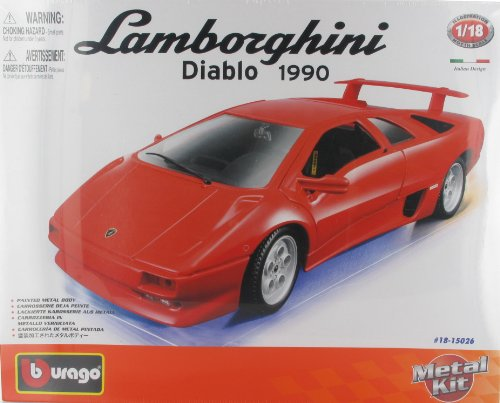 LAMBORGHINI DIABLO 1990 DIE-CAST METAL MODEL CAR KIT by BbURAGO - SCALE 1:18 NEW