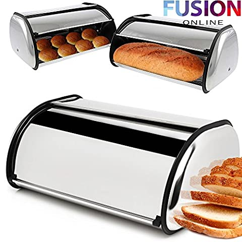 *Fusion* Large Bread Bin Roll Top Loaf Storage Box Stainless Steel