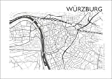 Poster 80 x 60 cm: Stadtplan von Würzburg von 44spaces -