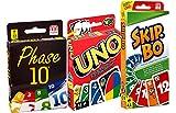Mattel W2087-DNX30-52370 BUNDLE - 3-er Set Kartenspiele: UNO, Skip Bo und Phase 10