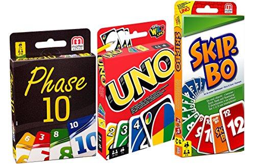 3er Set Kartenspiele: UNO, Skip Bo und Phase 10